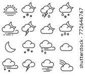 modern weather icons set. line... | Shutterstock .eps vector #772646767