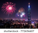 firework with cityscape... | Shutterstock . vector #772656607