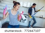 young happy couple is having... | Shutterstock . vector #772667107