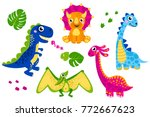 set of cute vector dinosaurs... | Shutterstock .eps vector #772667623