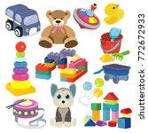 cartoon baby toy set. cute...   Shutterstock .eps vector #772672933
