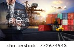 businessman is pressing button... | Shutterstock . vector #772674943