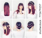 hairstyle tutorial step by step.... | Shutterstock . vector #772679257