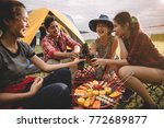 group of friends asian camp... | Shutterstock . vector #772689877