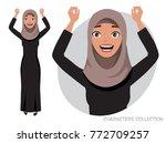 arab women character is happy... | Shutterstock .eps vector #772709257
