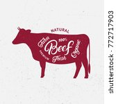 cow silhouette and hand written ... | Shutterstock .eps vector #772717903