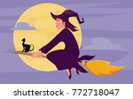 witch on a broomstick | Shutterstock .eps vector #772718047