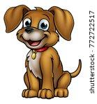 friendly cartoon dog mascot...   Shutterstock . vector #772722517