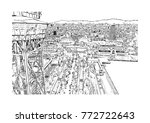 sketch of barcelona city  spain ... | Shutterstock .eps vector #772722643