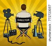 stage director on set pop art... | Shutterstock .eps vector #772723057