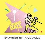 paintball player. flat outline... | Shutterstock .eps vector #772729327