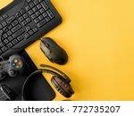 gamer workspace concept  top... | Shutterstock . vector #772735207