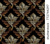 gold vector embroidery baroque... | Shutterstock .eps vector #772744297