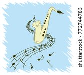 stylish template of saxophone... | Shutterstock .eps vector #772744783
