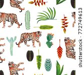 exotic animal tiger green... | Shutterstock .eps vector #772749613