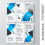 blue circles tri fold business... | Shutterstock .eps vector #772760227