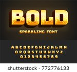 glowing vector bold alphabet... | Shutterstock .eps vector #772776133