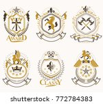 set of luxury heraldic vector... | Shutterstock .eps vector #772784383