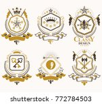 set of vector retro vintage... | Shutterstock .eps vector #772784503