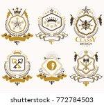 set of vector retro vintage... | Shutterstock .eps vector #772784503