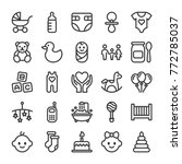 Baby toys, feeding and care icons set. Line style   Shutterstock vector #772785037