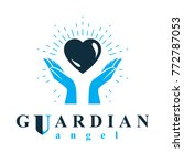 caring hands hold heart as the... | Shutterstock .eps vector #772787053