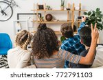 rear view of multiethnic... | Shutterstock . vector #772791103