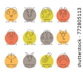 zodiac signs isolated on... | Shutterstock . vector #772805113