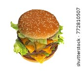 triple cheeseburger with cheese ... | Shutterstock . vector #772810507