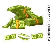 paper money tied with rubber... | Shutterstock .eps vector #772814557