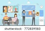 editorial office interior.... | Shutterstock .eps vector #772839583