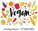 vegan fruits vegetables vector   Shutterstock .eps vector #772855393