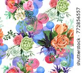 bouquet flower pattern in a... | Shutterstock . vector #772856557