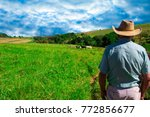 farmer looking to sunrise into... | Shutterstock . vector #772856677