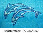 dolphin texture in swimming pool | Shutterstock . vector #772864357