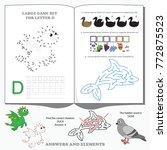letter d. dot to dot... | Shutterstock .eps vector #772875523