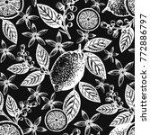 citrus seamless pattern. hand...   Shutterstock .eps vector #772886797