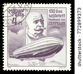 Small photo of Hungary - stamp printed 1988, Multicolor Edition offset printing, Topic Aviation, Series 150th anniversary of the birth of the German airship designer Ferdinand von Zeppelin, Lz 10 Schwaben