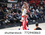Small photo of Milan, Italy, december 07 2017: Honeycutt Tyler scores 2 points in Jarrells Curtis face during basketball match Ax Armani Exchange Olimpia Milan vs Khimki Moscow Region, EuroLeague 2017/2018.