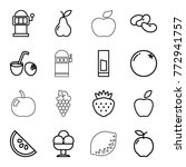 set of 16 fruit outline icons...   Shutterstock .eps vector #772941757