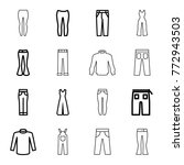set of 16 jeans outline icons... | Shutterstock .eps vector #772943503