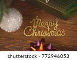 merry christmas gold gleaming...   Shutterstock . vector #772946053