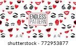 woman wink  surprised  smile ... | Shutterstock .eps vector #772953877