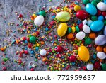 delicious chocolate easter eggs ... | Shutterstock . vector #772959637
