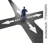 young businessman at crossroads ...   Shutterstock . vector #772963093