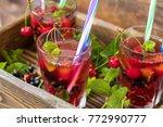 glasses of refreshing  drink...   Shutterstock . vector #772990777