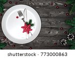 christmas table setting with... | Shutterstock . vector #773000863