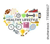 healthy lifestyle illustration. ... | Shutterstock .eps vector #773003617