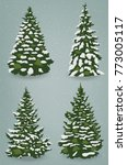 snow trees set on isolated... | Shutterstock .eps vector #773005117