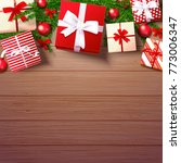 christmas decoration gift box ... | Shutterstock .eps vector #773006347